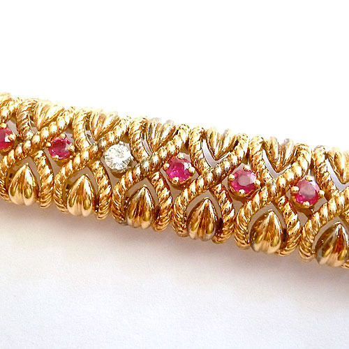 A-0202 Diamond and ruby bracelet