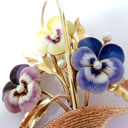 B-0718 Enamel Basket brooch