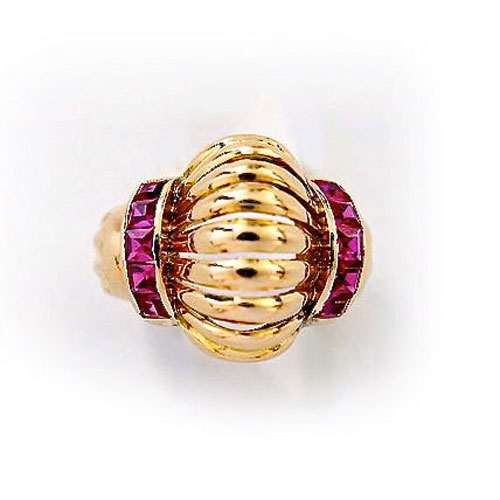 R-0306 Retro ring with synthetic rubies