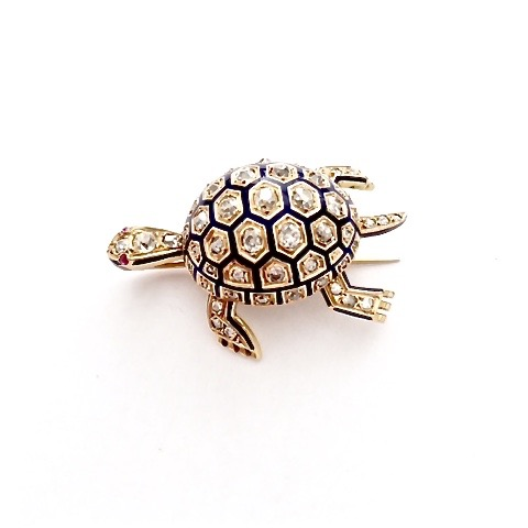 | B-0065  Tortoise  Diamond Brooch