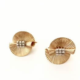 OC-0230  Gold and Diamond earclips