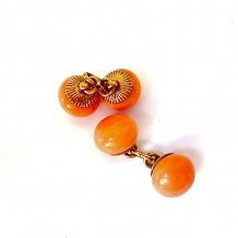 M-0075  Antique Coral cufflinks